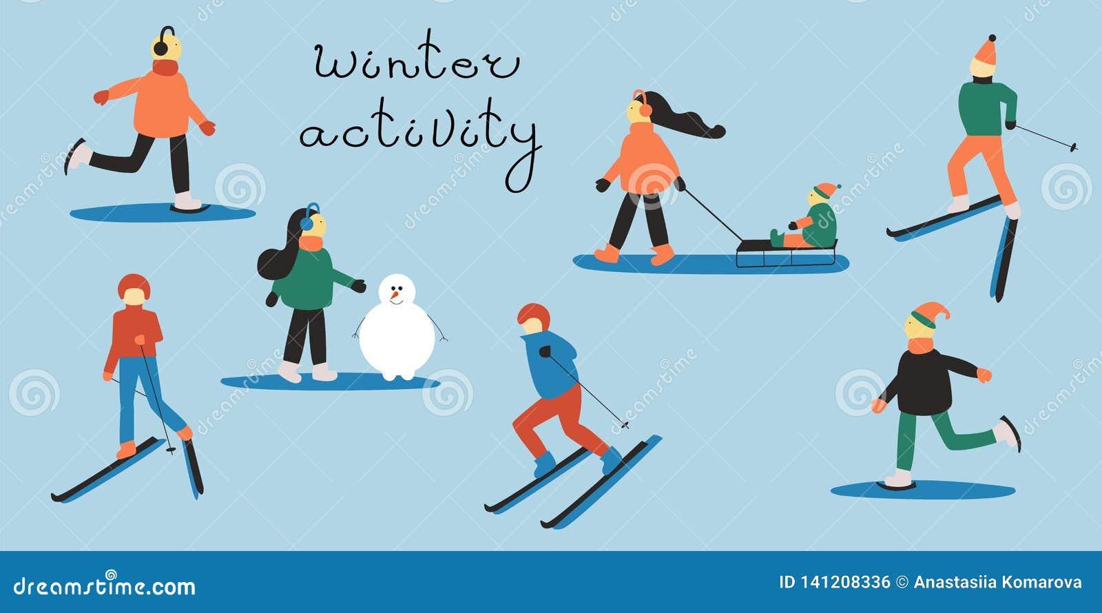 Povos envolvidos em esportes de inverno: homem e mulher de esqui; mulher com uma criança em um trenó; povos de patinagem; mulher