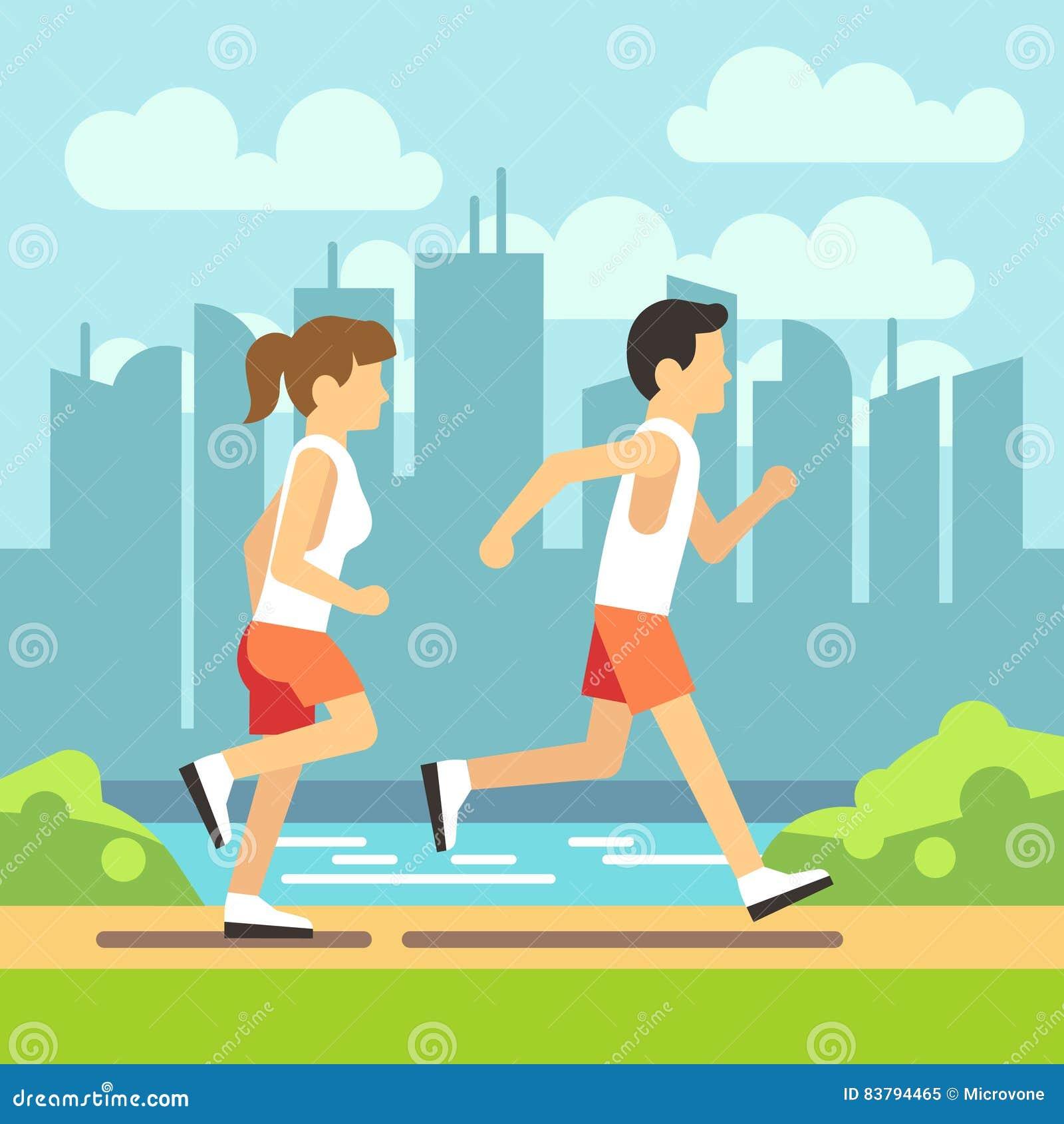 Povos movimentando-se do esporte, homem running atlético e mulher Conceito dos cuidados médicos do vetor