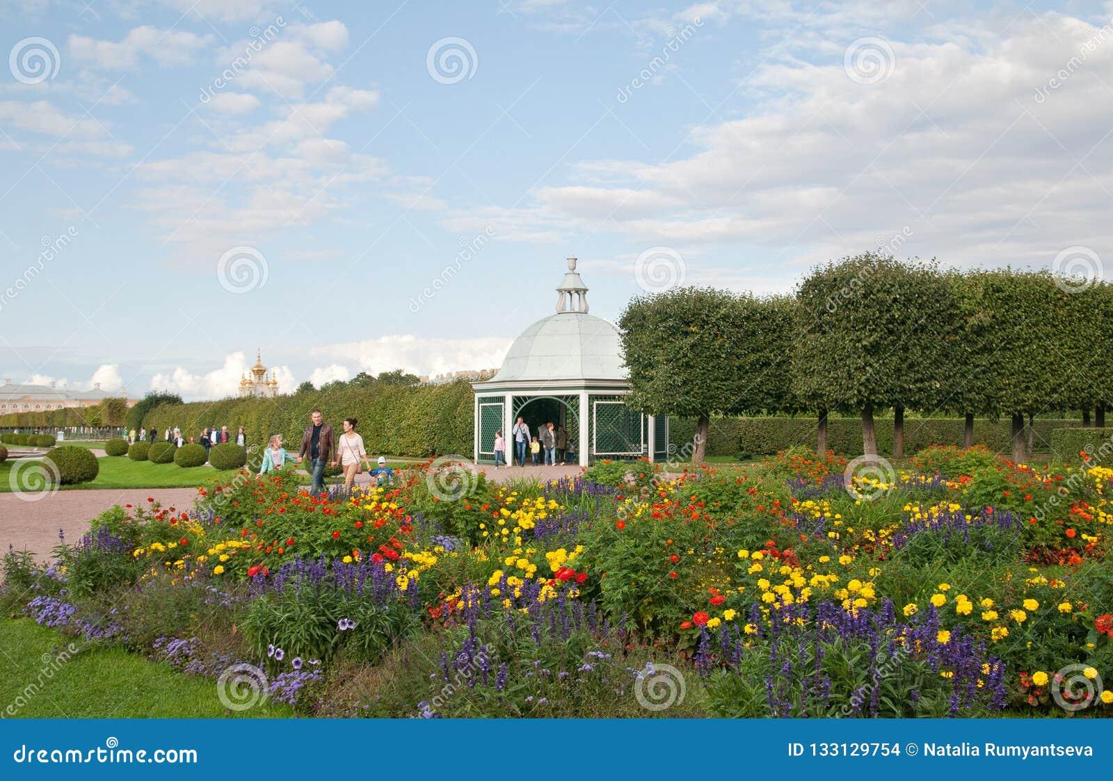 Povos no jardim superior da conserva Peterhof do museu do estado Rússia