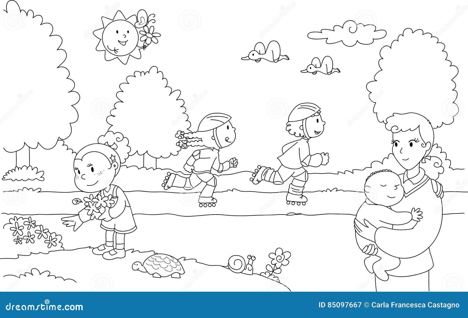 povos no parque ilustra u00e7 u00e3o do vetor  ilustra u00e7 u00e3o de colora u00e7 u00e3o