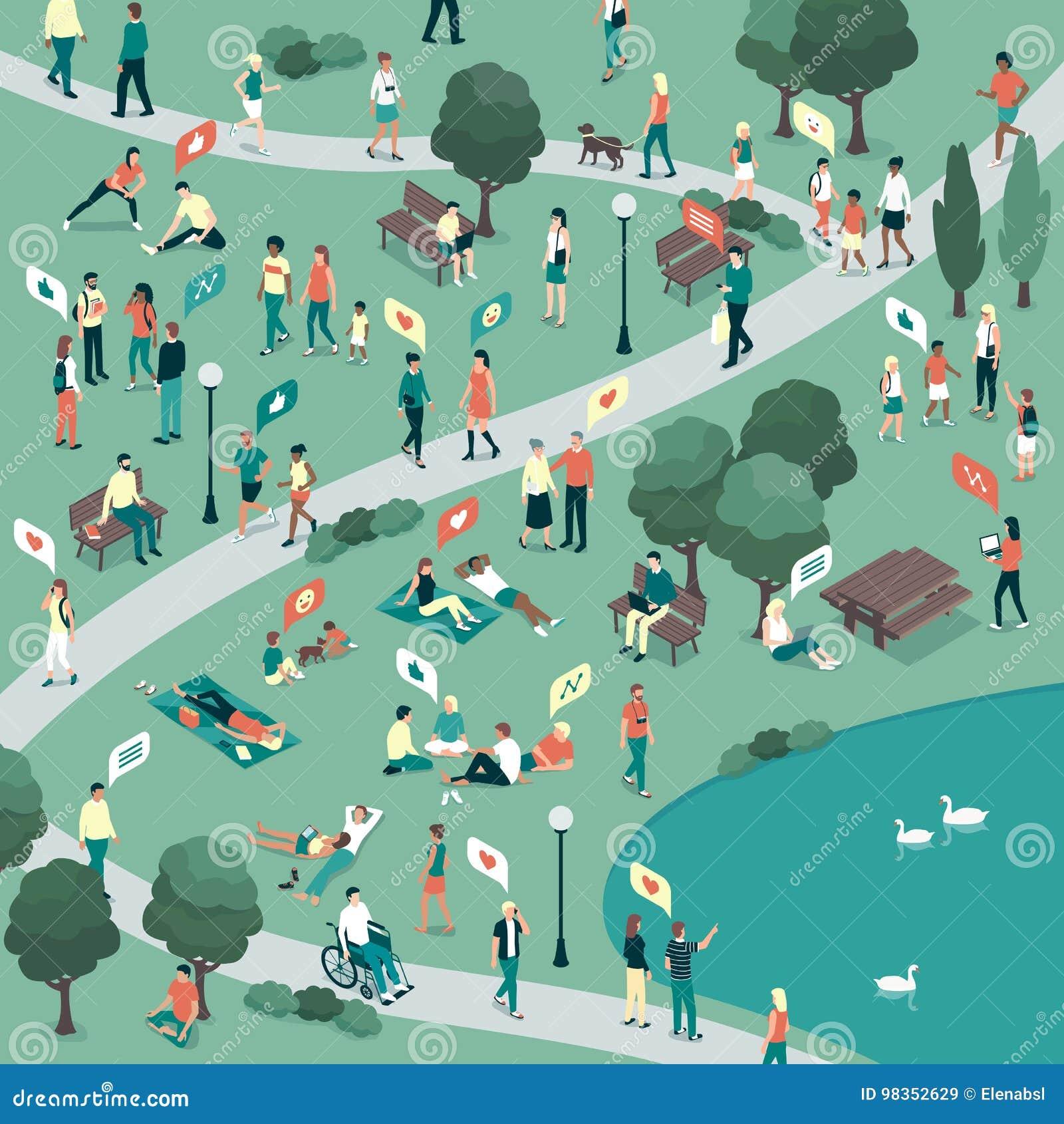 Povos no parque da cidade