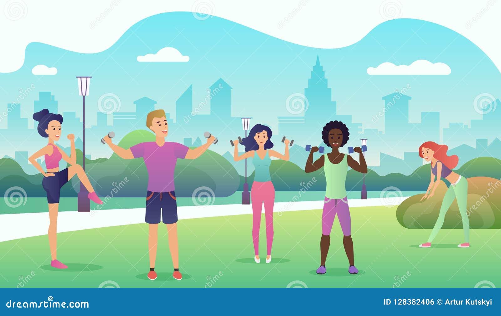 Povos no parque público que faz a aptidão Ostenta a ilustração lisa do vetor do projeto das atividades exteriores Mulheres que fa