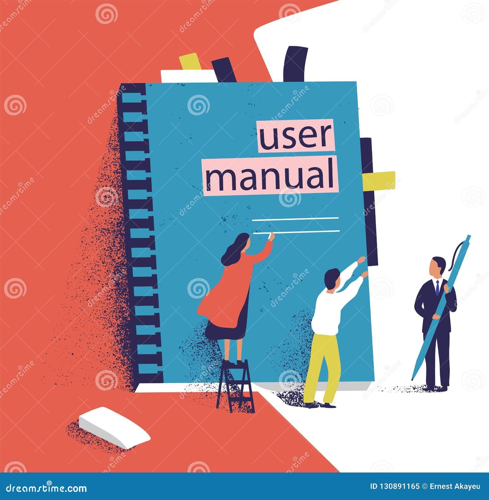 Povos ou gerentes minúsculos que tentam abrir o manual gigante do usuário Homens e mulheres pequenas e grande guia do software in