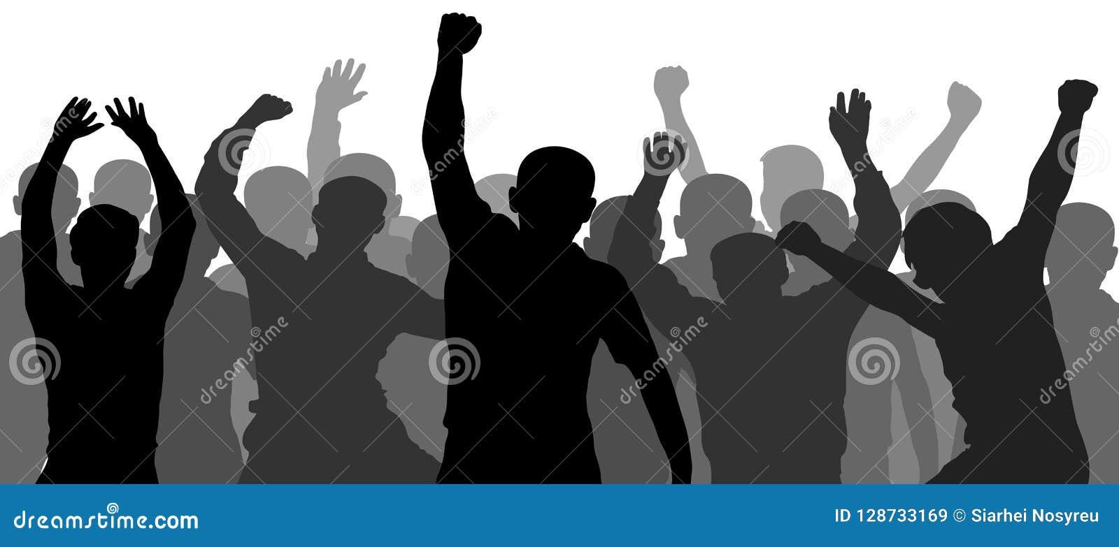 Povos que têm a comemoração do divertimento Multidão de povos do divertimento no partido, feriado Demonstração, protesto