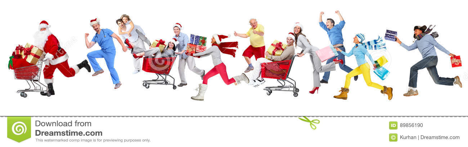 Povos running felizes do Natal