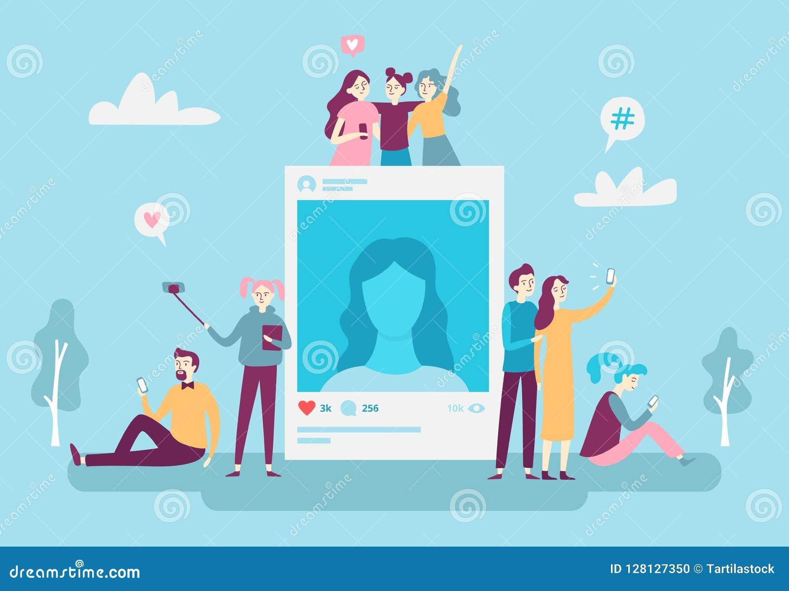 Povos sociais dos jovens do cargo da foto da rede que afixam fotos do selfie no smartphone Conceito social do vetor do apego dos