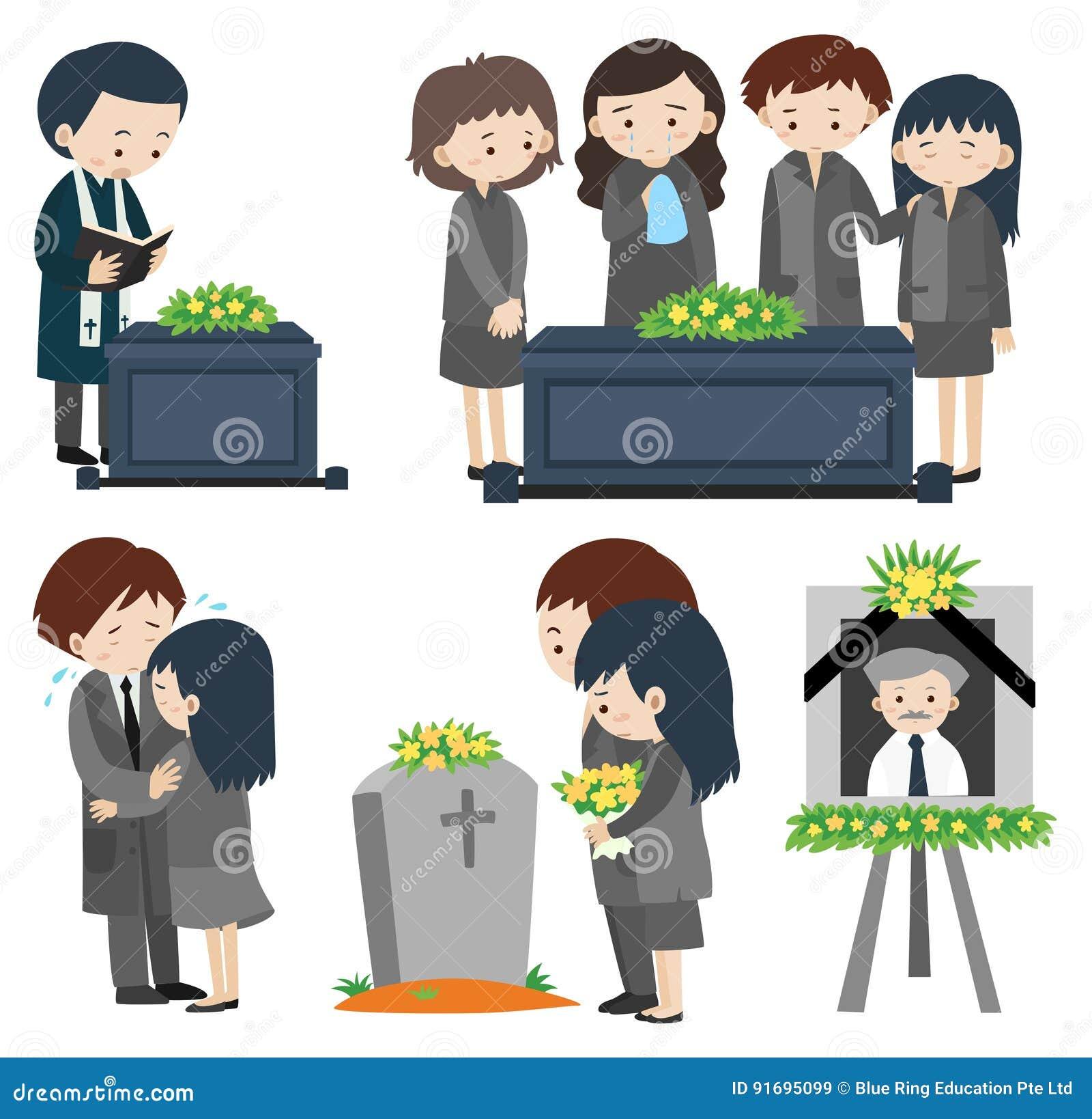 Povos tristes no funeral