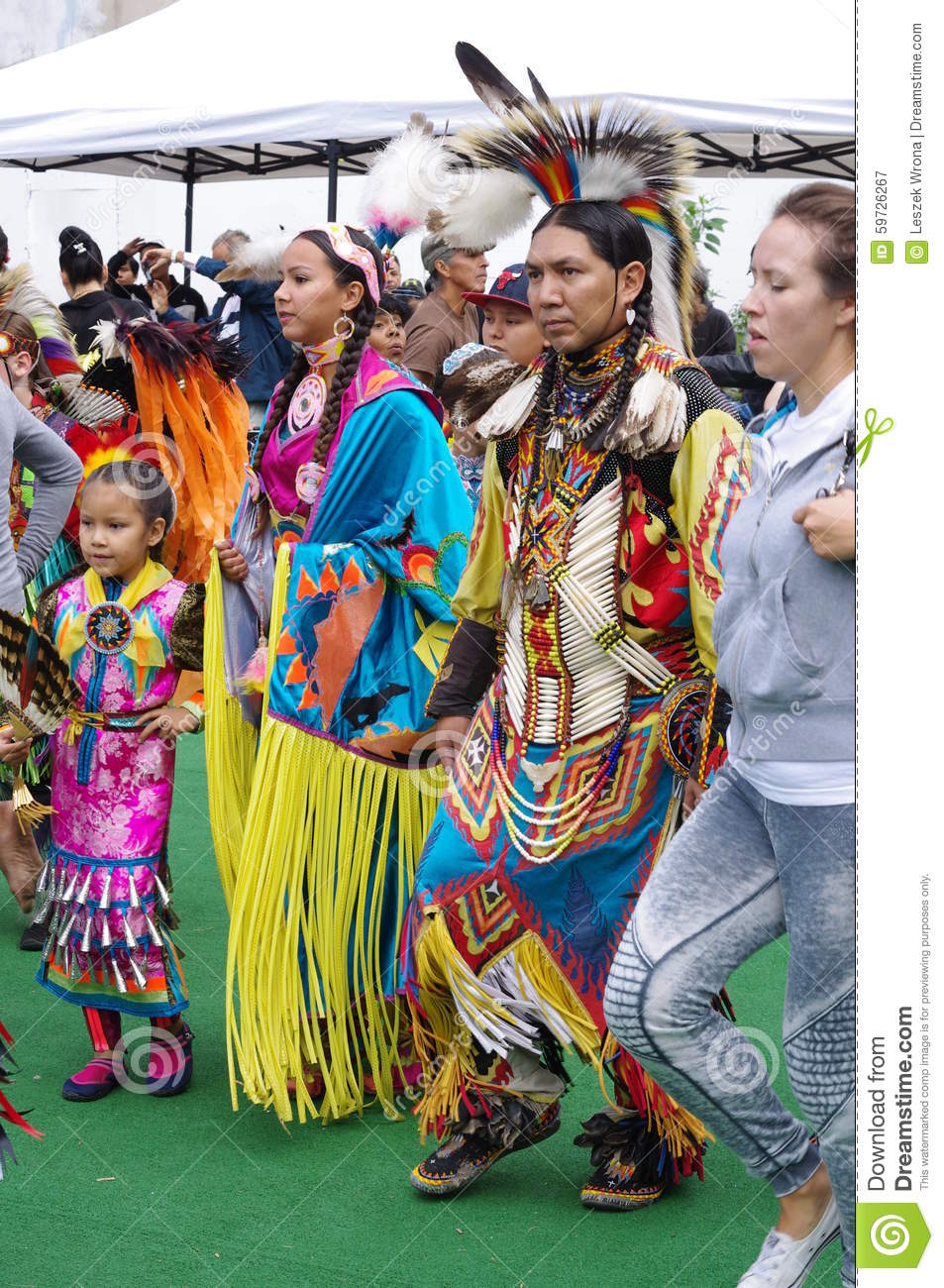 Pow-wow dancers of the plains tribes of Canada