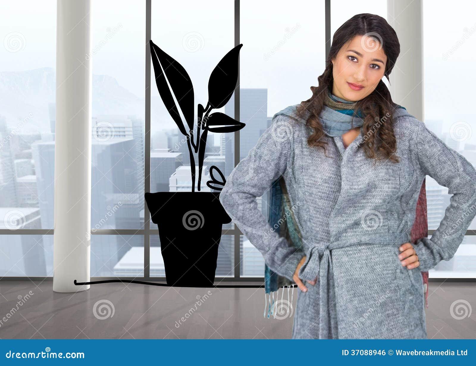 Download Poważna ładna Brunetka Jest Ubranym Zimę Odziewa Pozować Zdjęcie Stock - Obraz złożonej z garnek, przyrost: 37088946