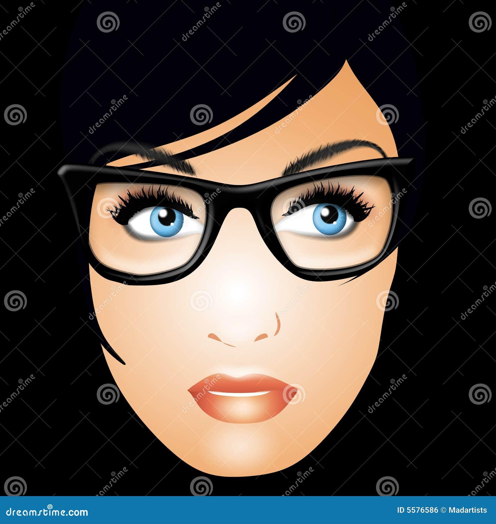 Poważna szkła nosi kobieta