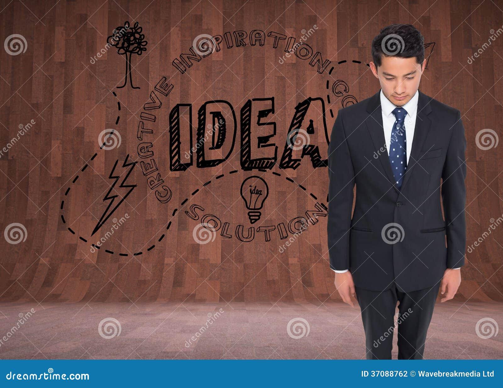 Download Poważny Biznesmen Patrzeje W Dół Zdjęcie Stock - Obraz złożonej z jeden, digitalis: 37088762