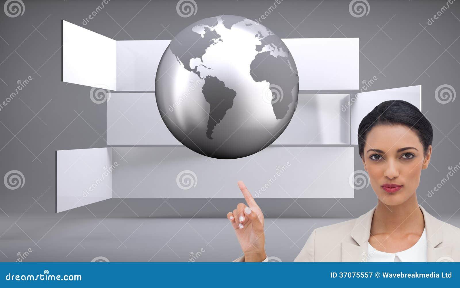 Download Poważny Bizneswoman Z Rękami Up Ilustracji - Ilustracja złożonej z planeta, grafika: 37075557