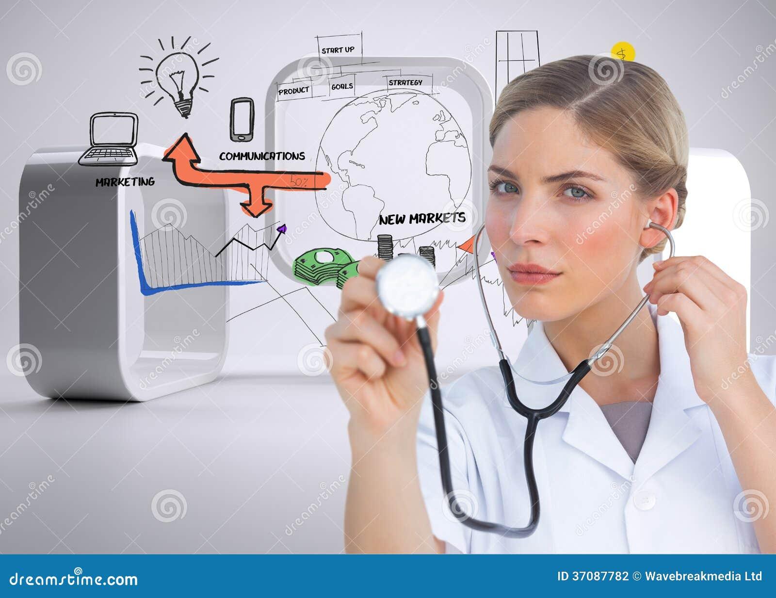 Download Poważny Pielęgniarki Słuchanie Z Stetoskopem Zdjęcie Stock - Obraz złożonej z wyznaczający, strategia: 37087782