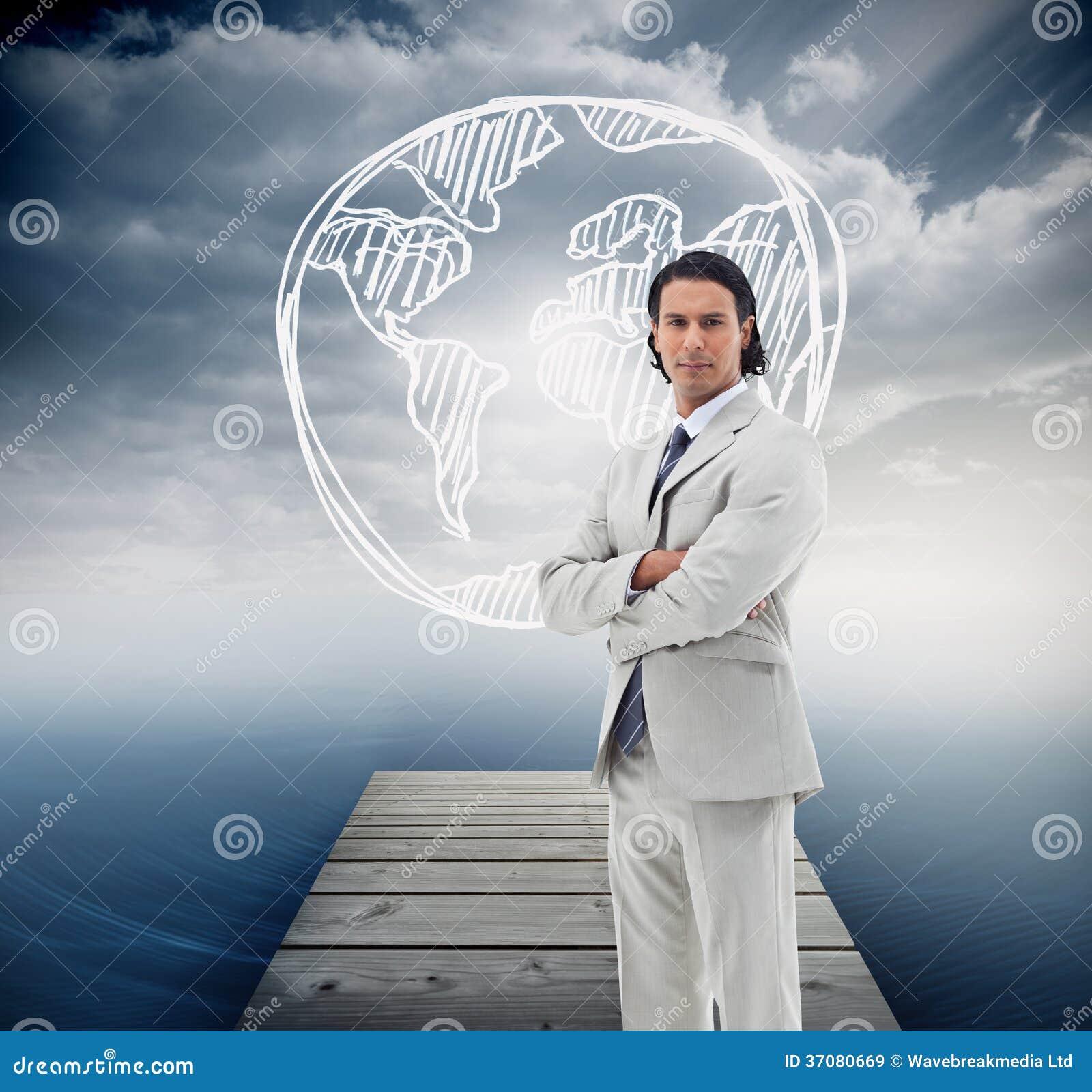 Download Poważny Urzędnik Pozuje Z Rękami Krzyżować Ilustracji - Ilustracja złożonej z czochra, grafika: 37080669