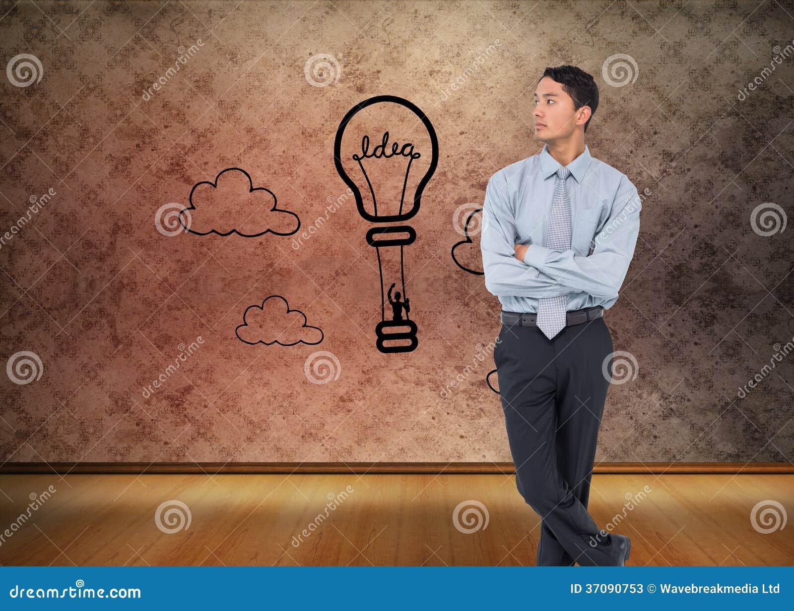Download Poważny Azjatykci Biznesmen Obraz Stock - Obraz złożonej z pomysł, drewno: 37090753