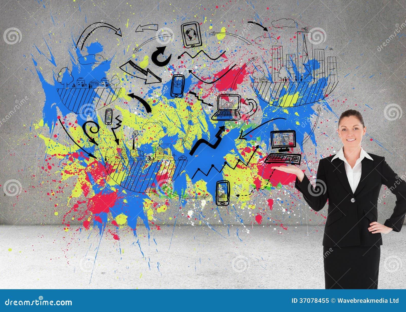Download Powabna Kobieta W Kostiumu Pokazuje Odbitkową Przestrzeń Obraz Stock - Obraz złożonej z arrowed, wallah: 37078455
