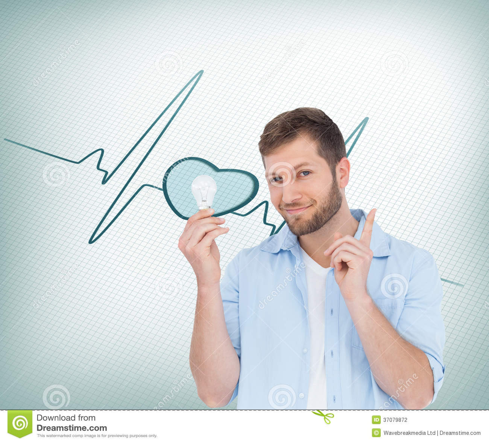 Download Powabny Model Trzyma żarówkę W Prawej Ręce Ilustracji - Ilustracja złożonej z mężczyzna, waveform: 37079872