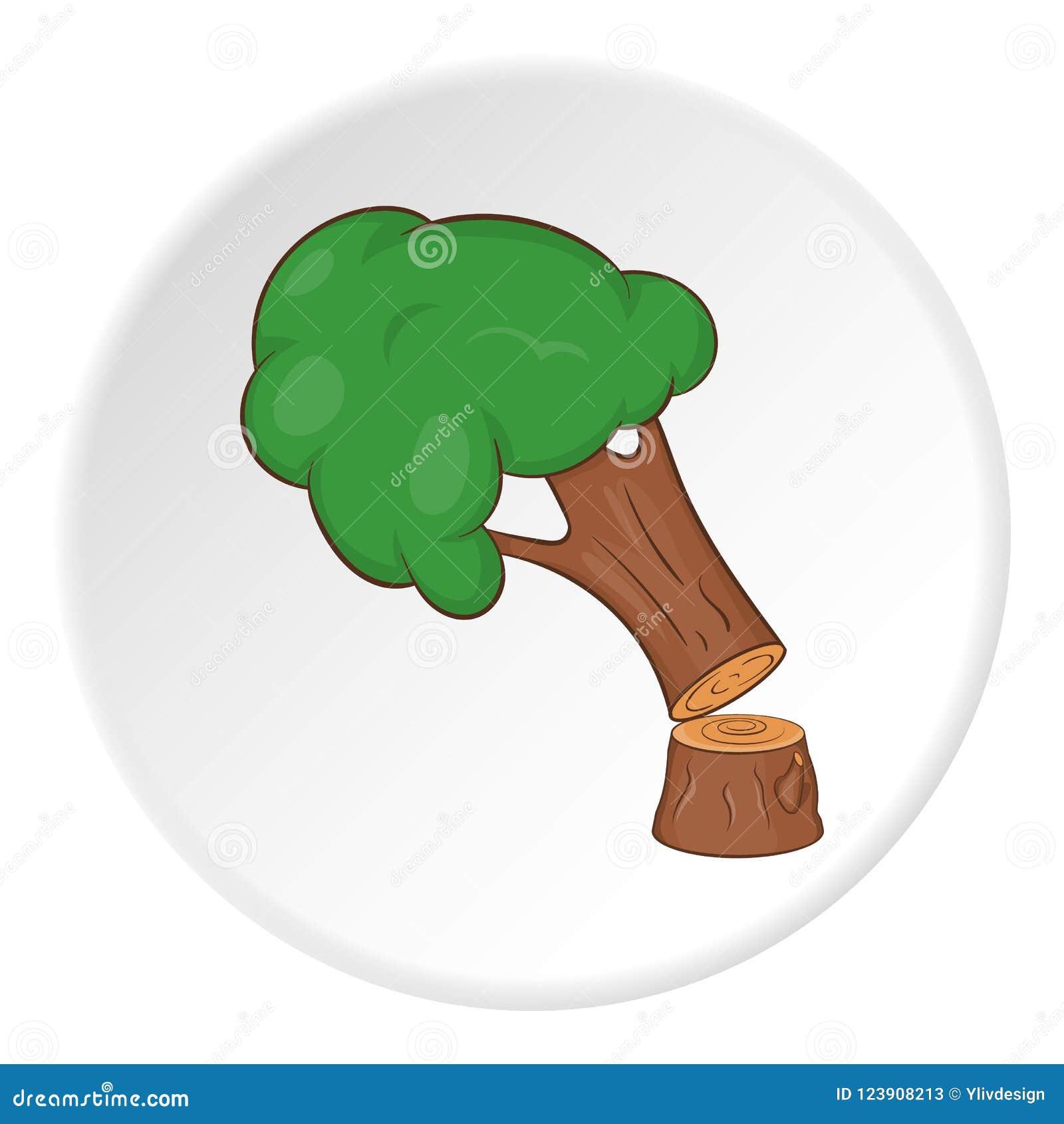 Powalać drzewna ikona, kreskówka styl