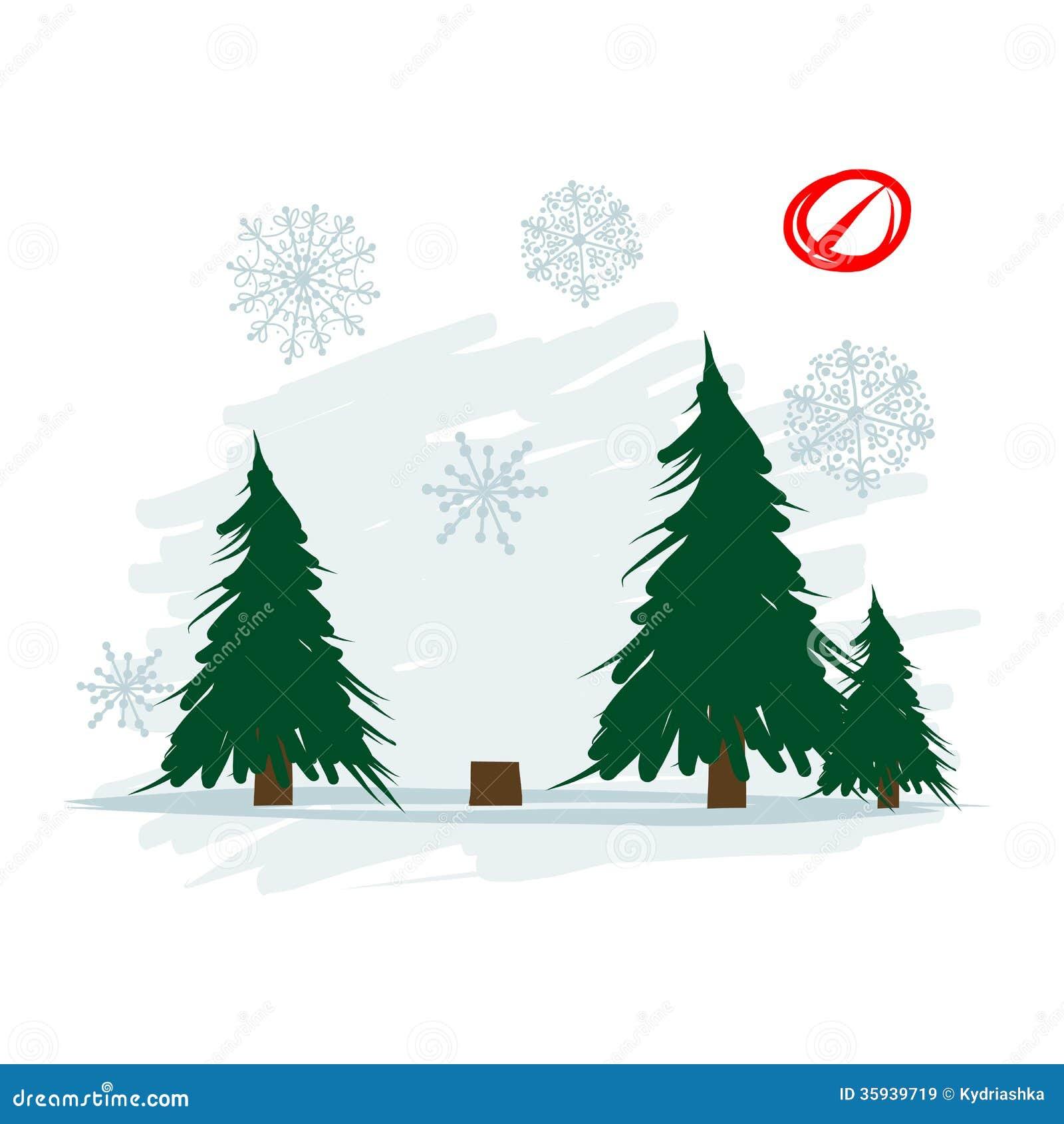 Powalać drzewo w lesie, wektorowa ilustracja
