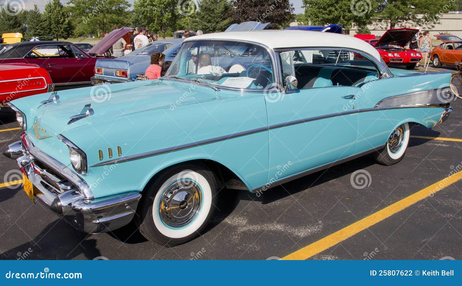 Powder Blue Amp White 1957 Chevy Bel Air Editorial