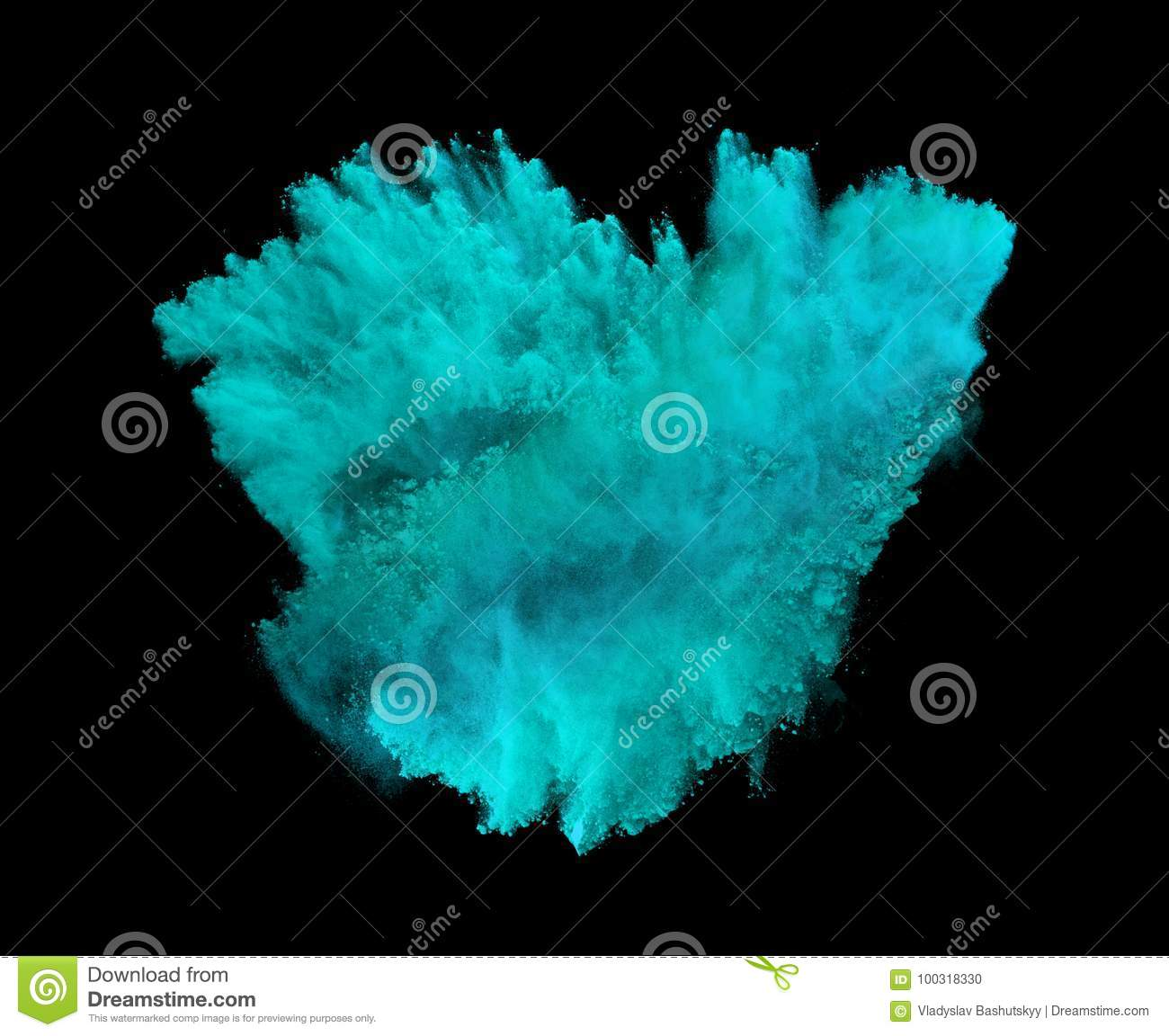Powder explosion. Closeup of blue dust particle explosion isolated on background