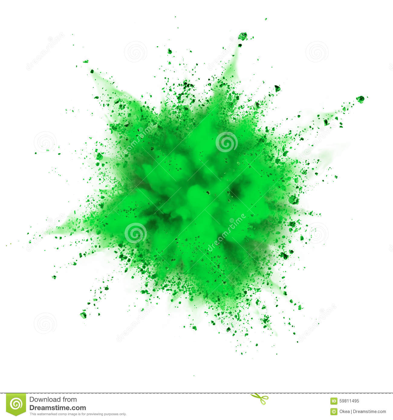 Green powder ex... Explosion White Background