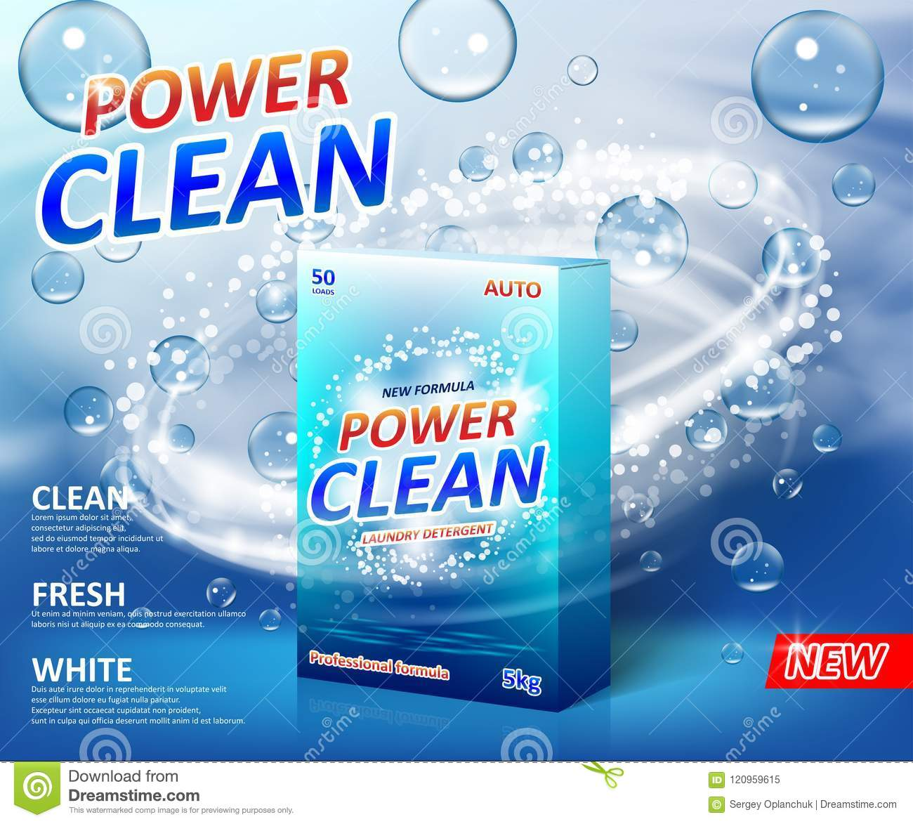 Powder laundry detergent Advertising poster. Washing powder carton box package label template with soap bubbles. Stain