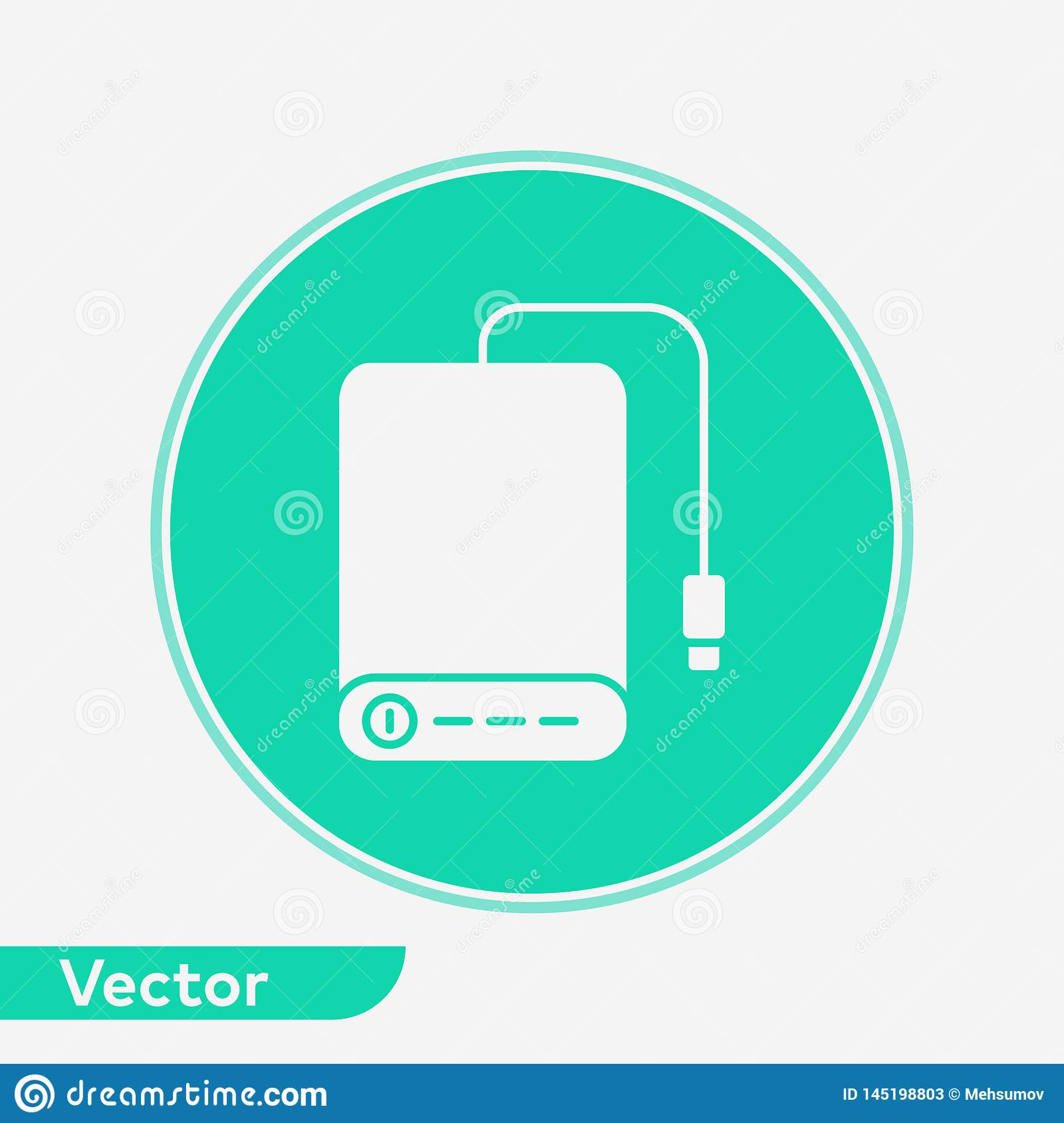 Power Bank Vector Icon Sign Symbol Stock Vector