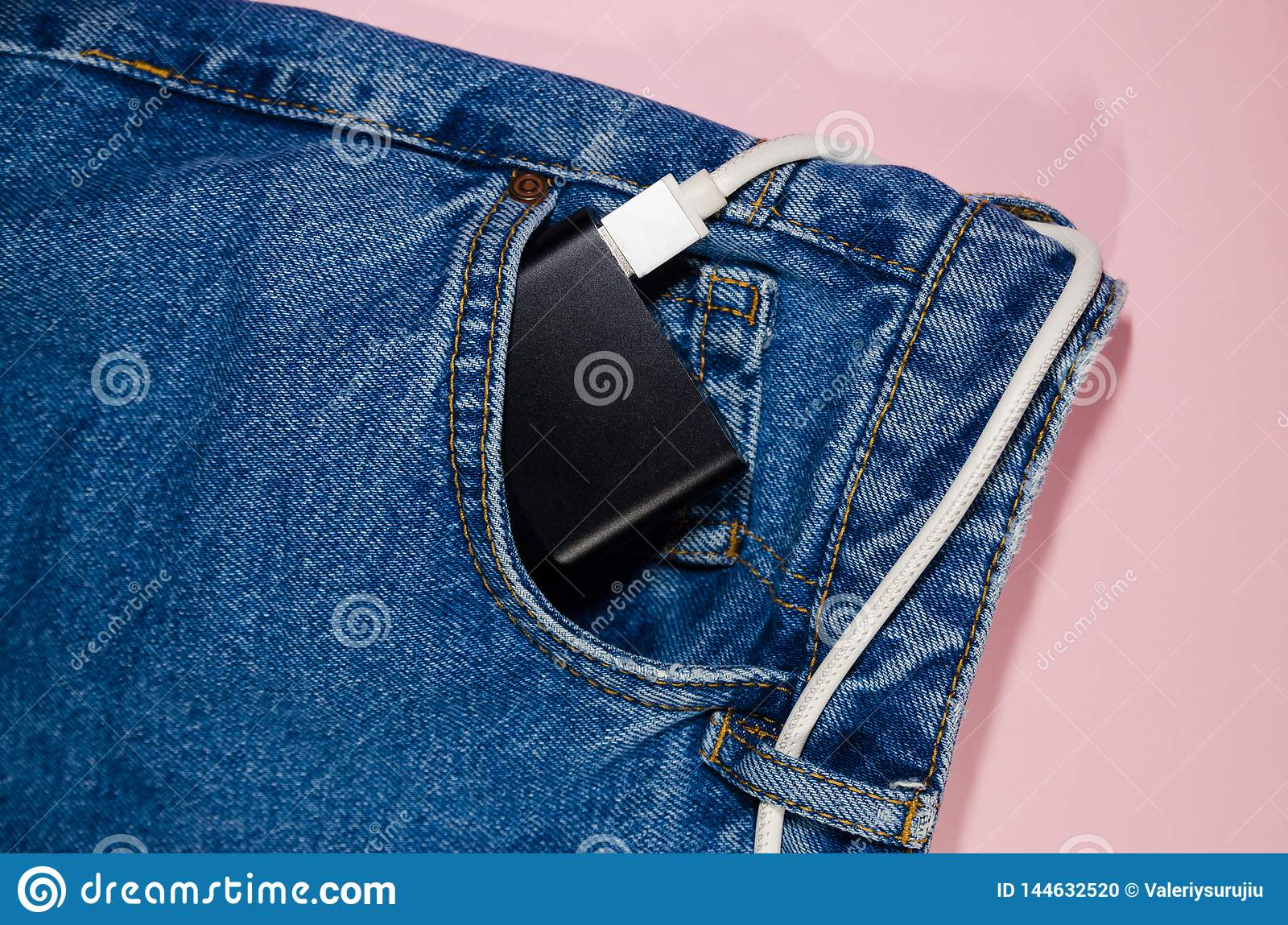 Power bank in jeans