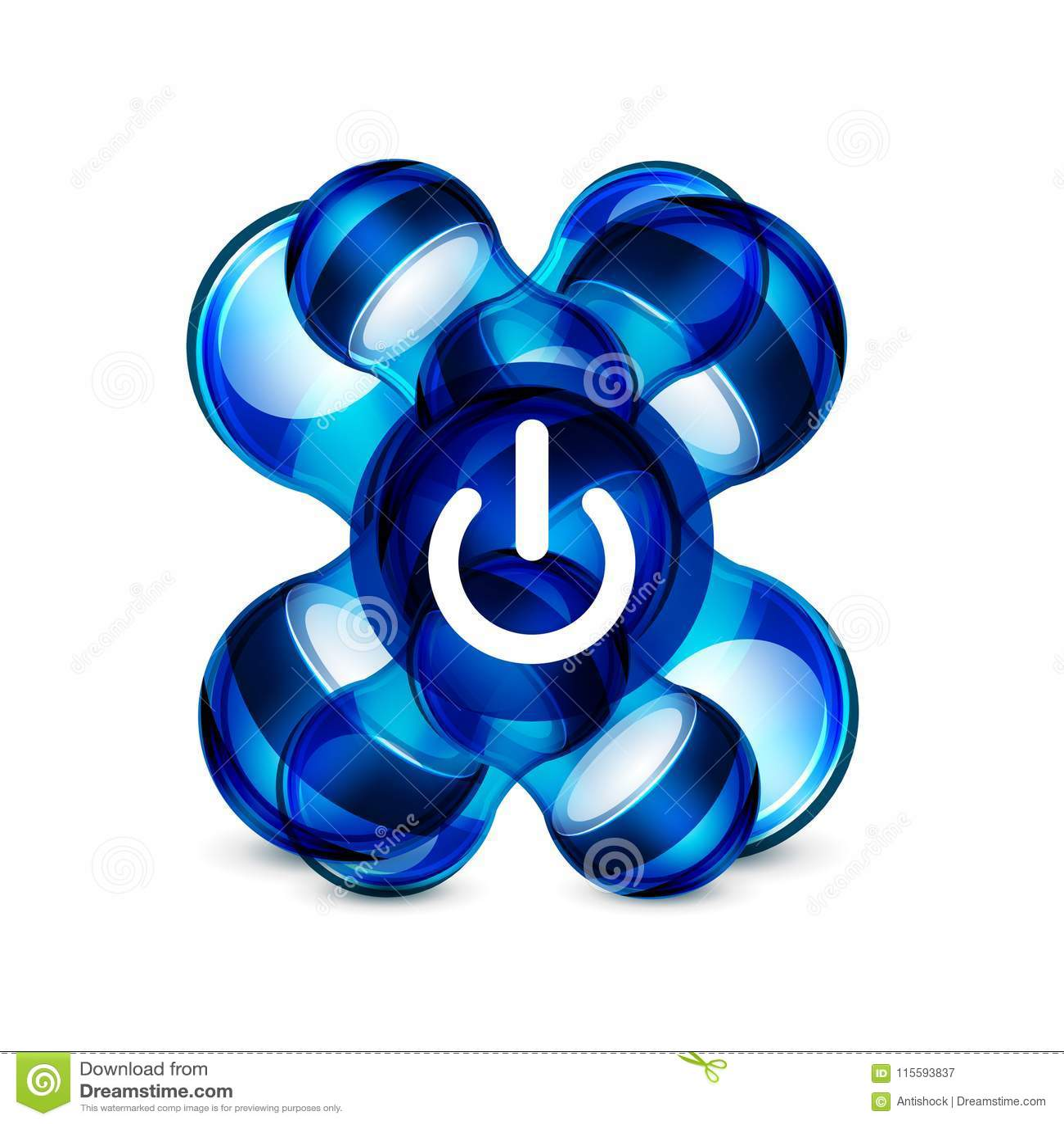 Power Button Blue Icon, Start Symbol Stock Vector