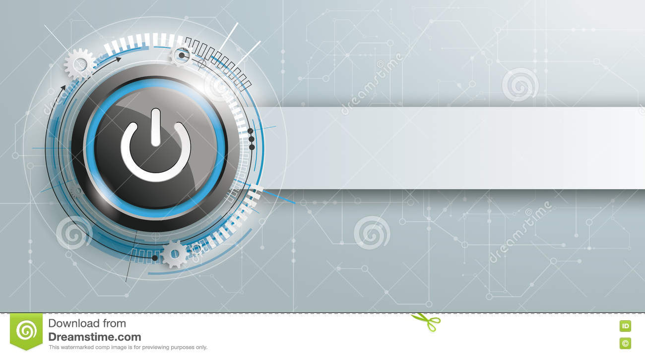 Power Button Circuit Board Banner Stock Vector - Illustration of ...