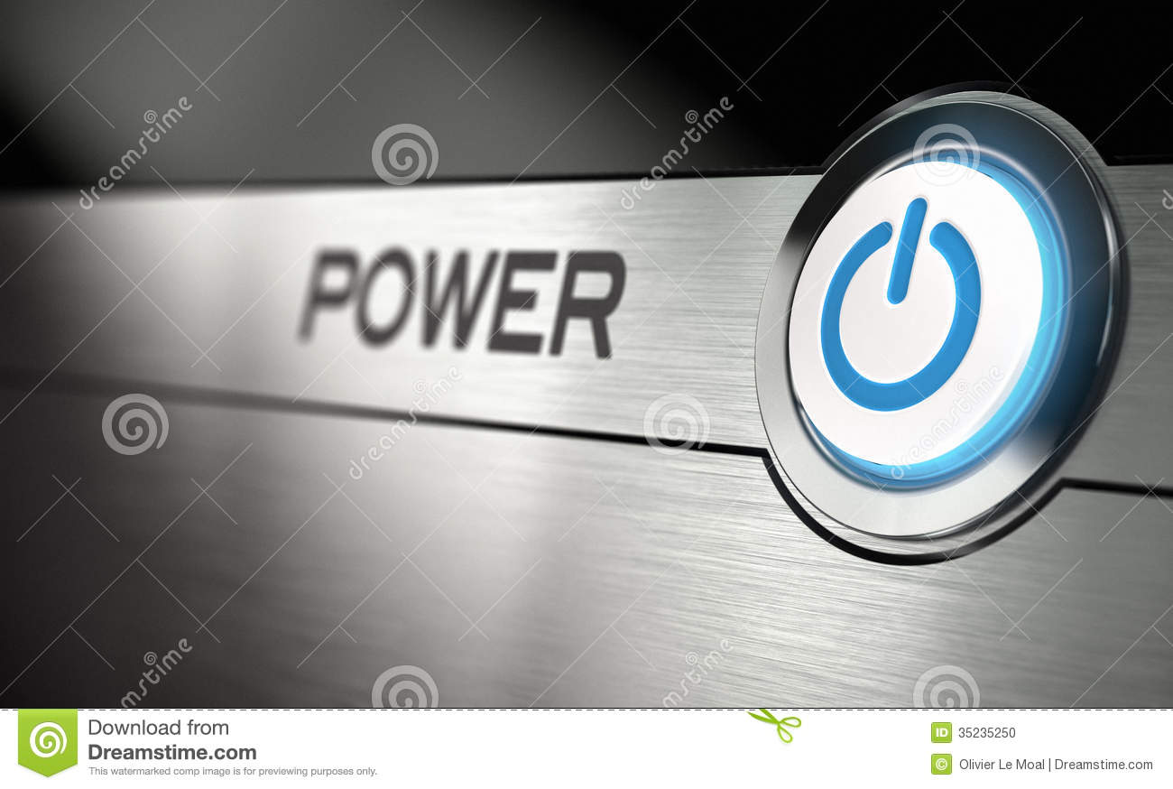 Power For Computer : Power button stock illustration image of metal modern