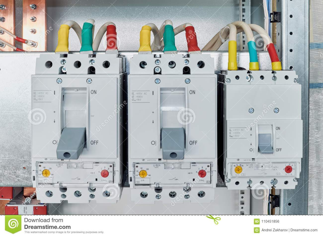 power circuit breakers are arranged in a row in an electric cabinet rh dreamstime com