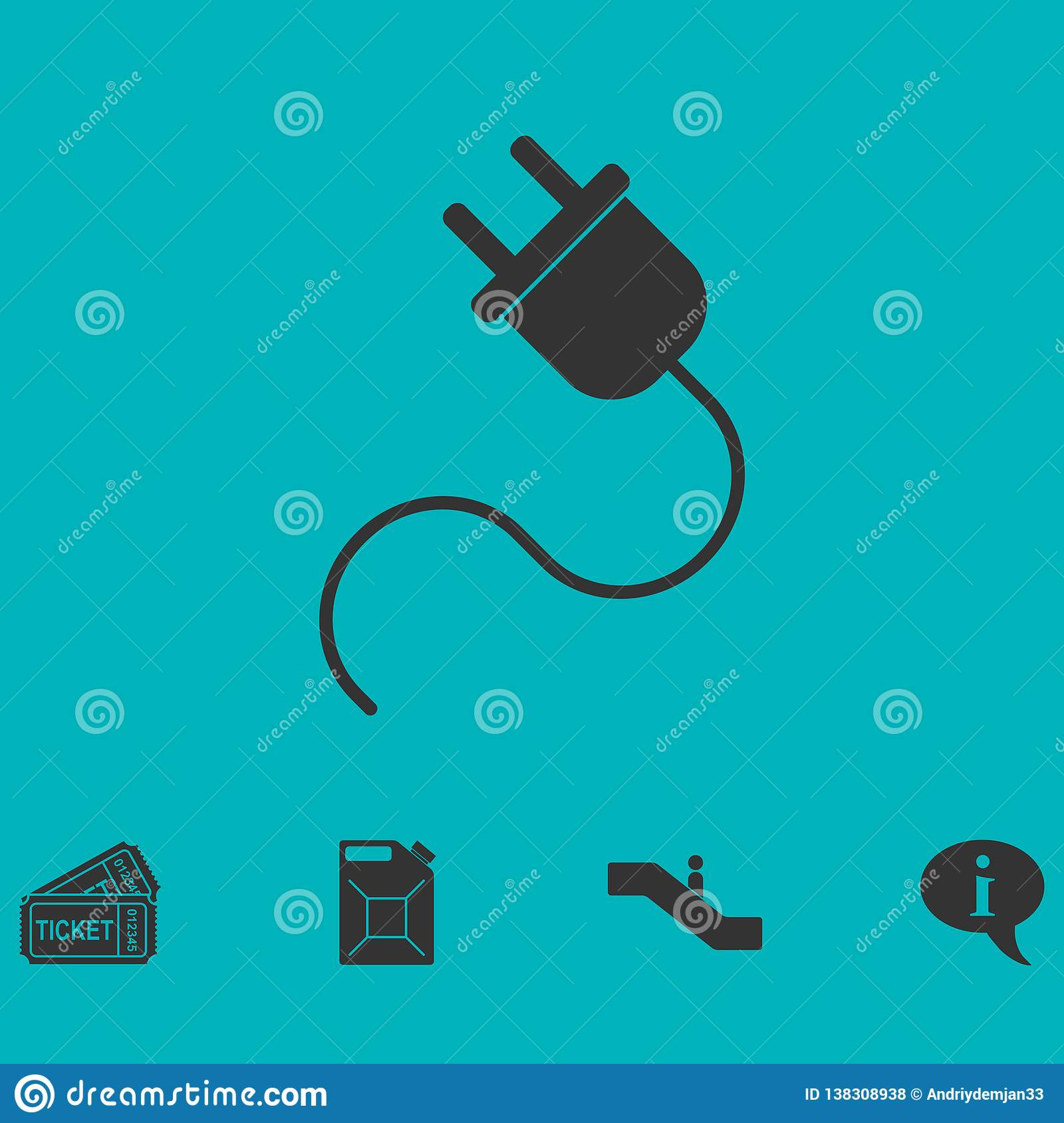 Power cord icon flat
