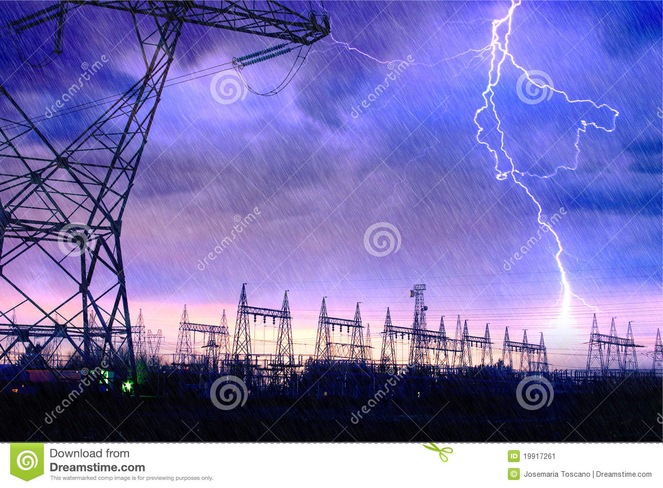Power Distribution Station With Lightning Strike Stock Image Image 19917261