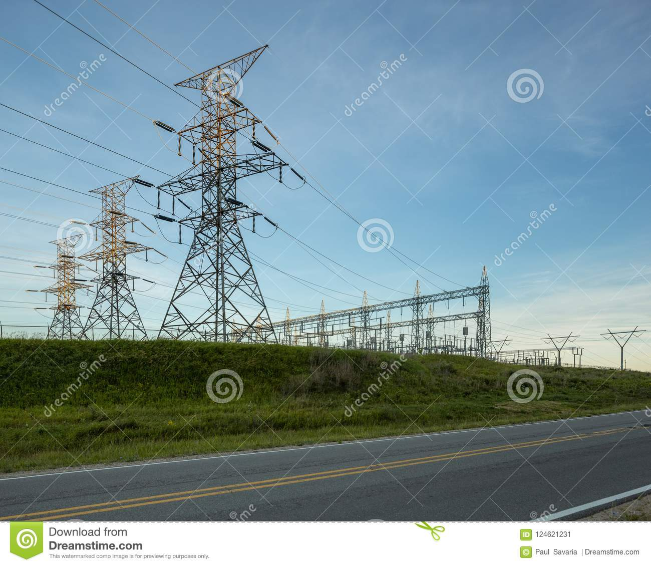 Power Electrical Lines From Hydro Electric Plant By Road And Fields What Is A