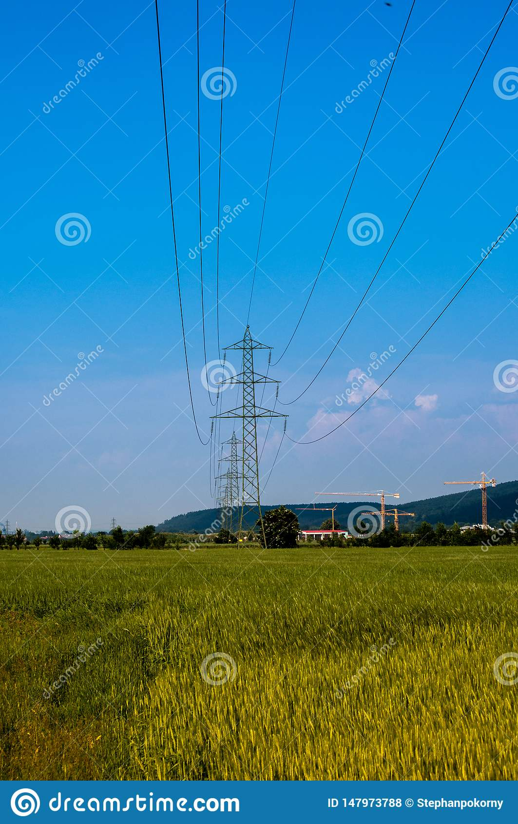 Power electricity cable over a field