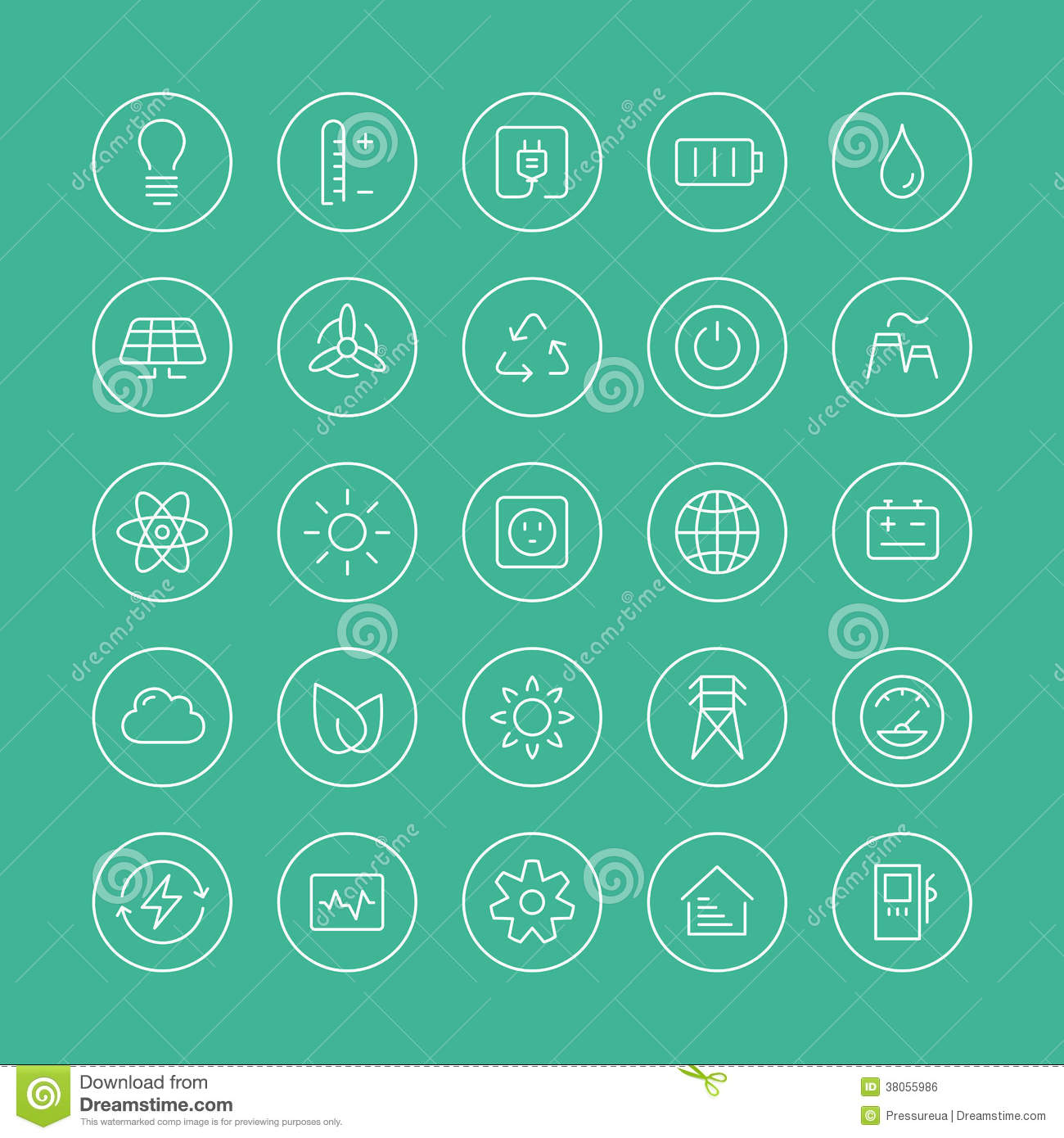 Power And Energy Flat Line Icons Royalty Free Stock Image