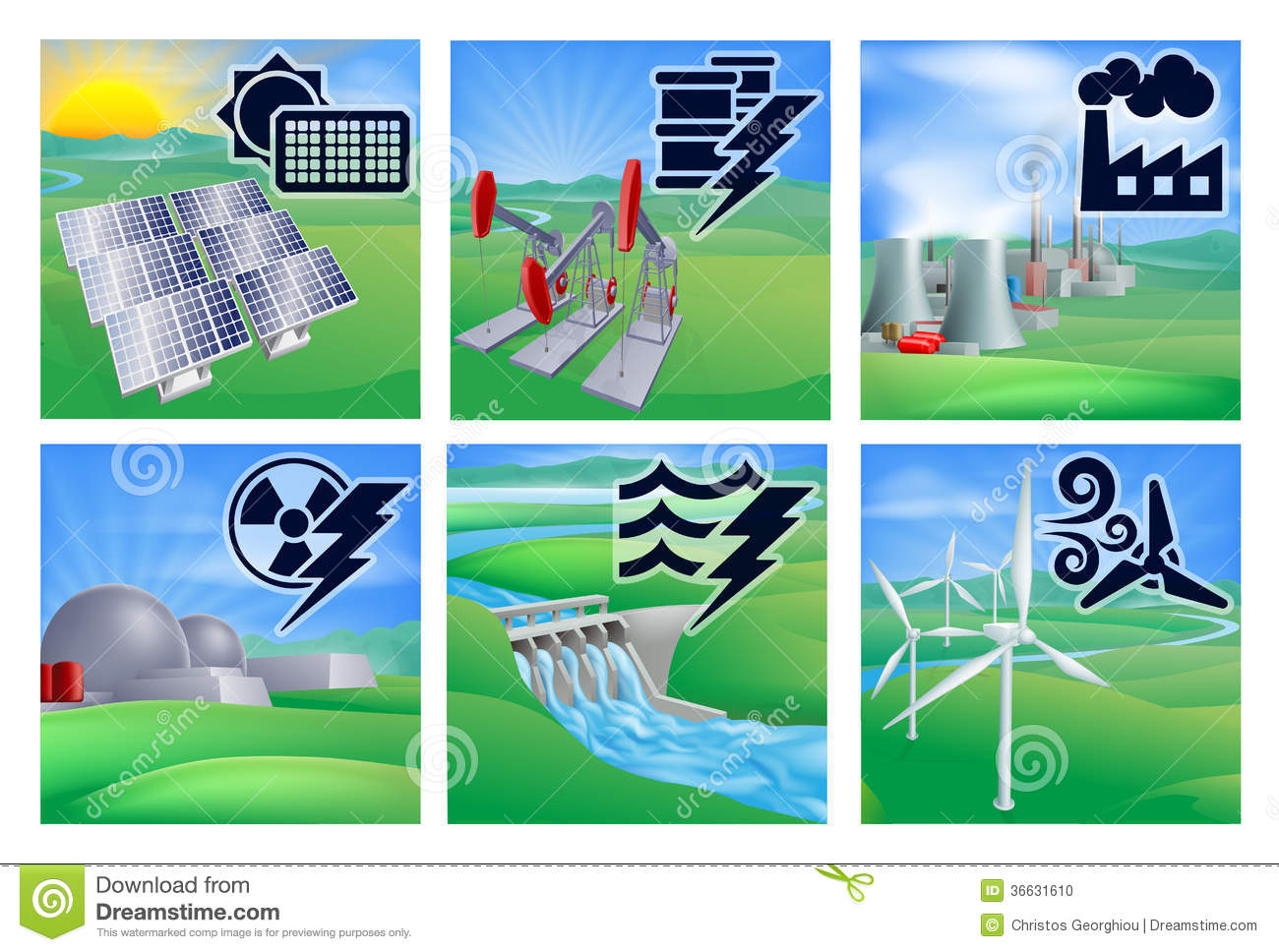 Different types of power or energy generation with icons. Photovoltaic ...