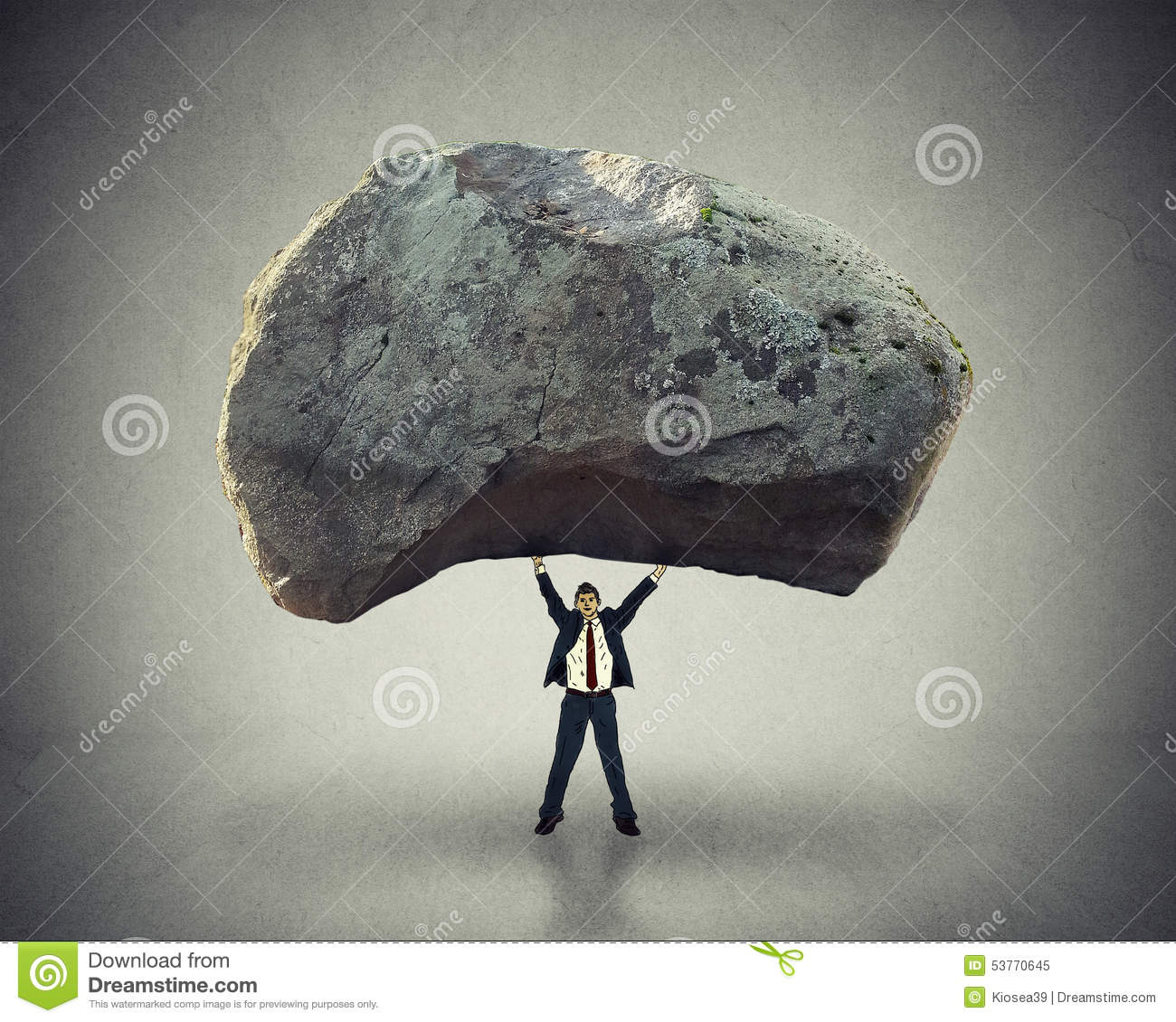 Power leadership ability to inspire man lifting up huge boulder