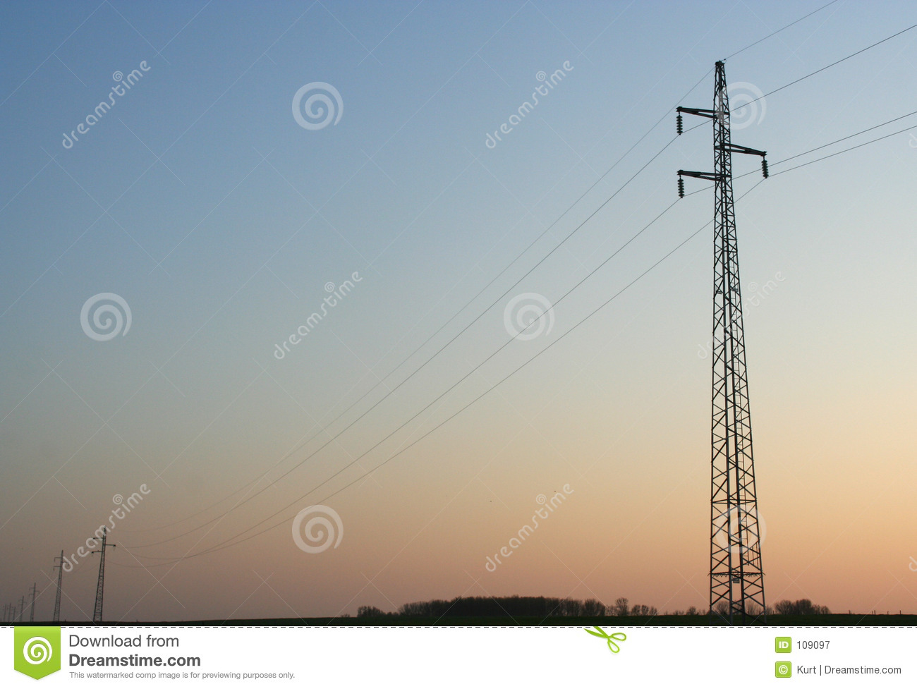 Download Power line stock image. Image of electrical, sunset, dusk - 109097