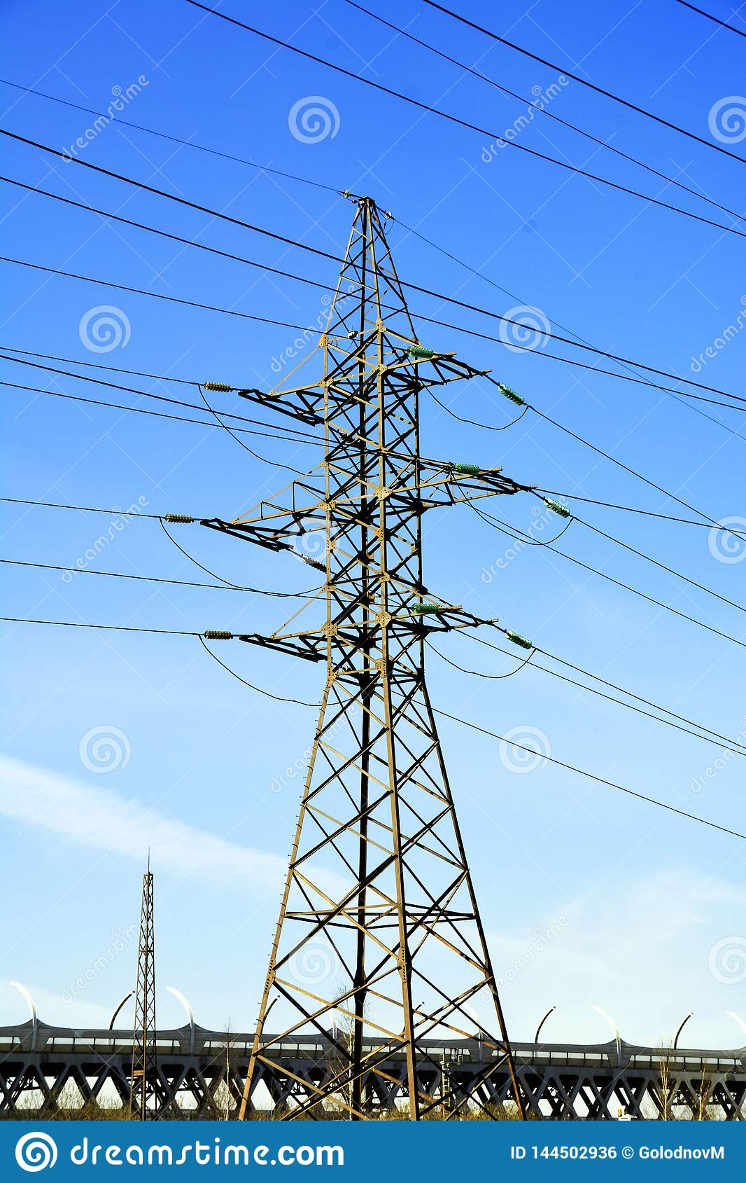 Power transmission tower with road