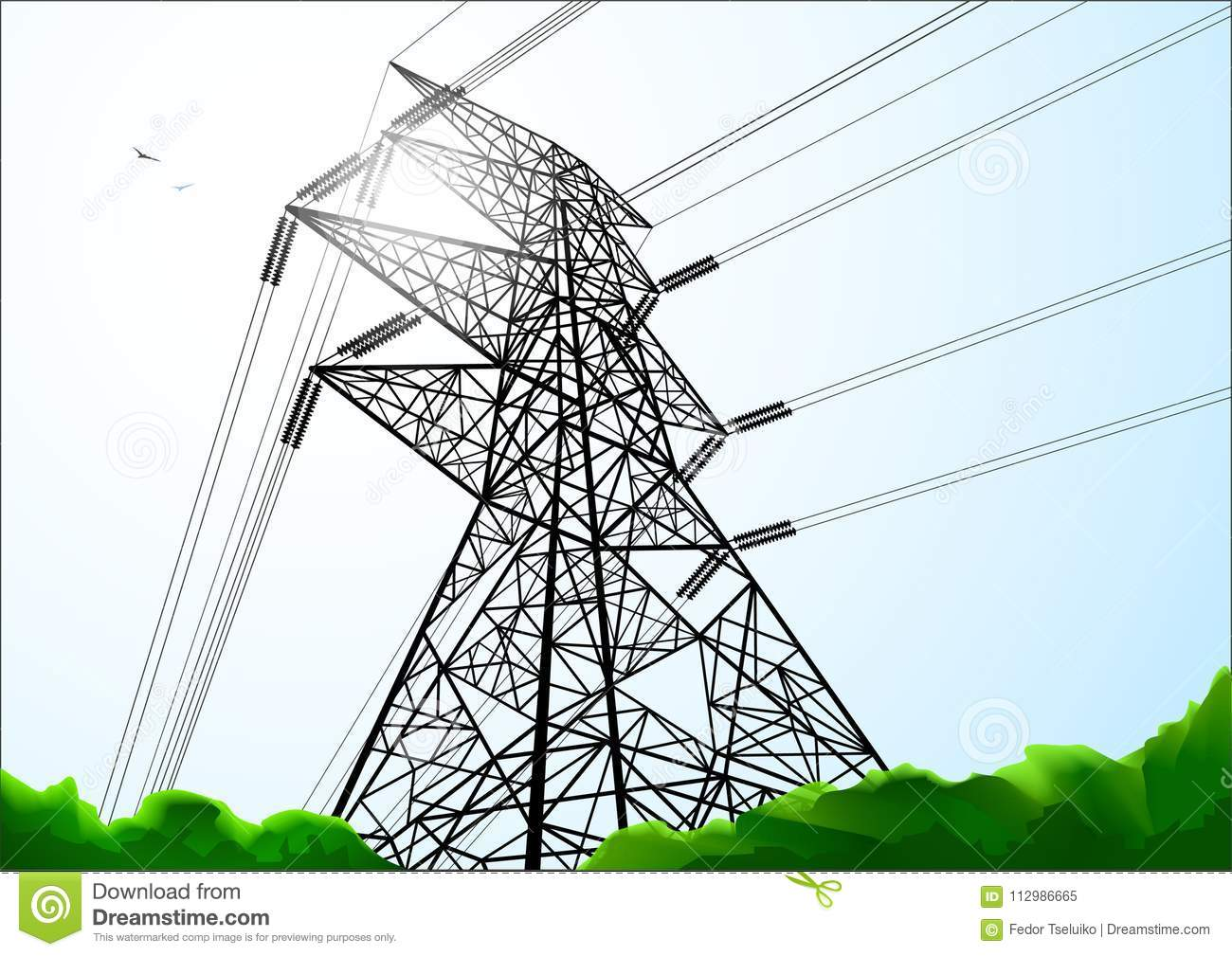 Power line construction. Black and white line art
