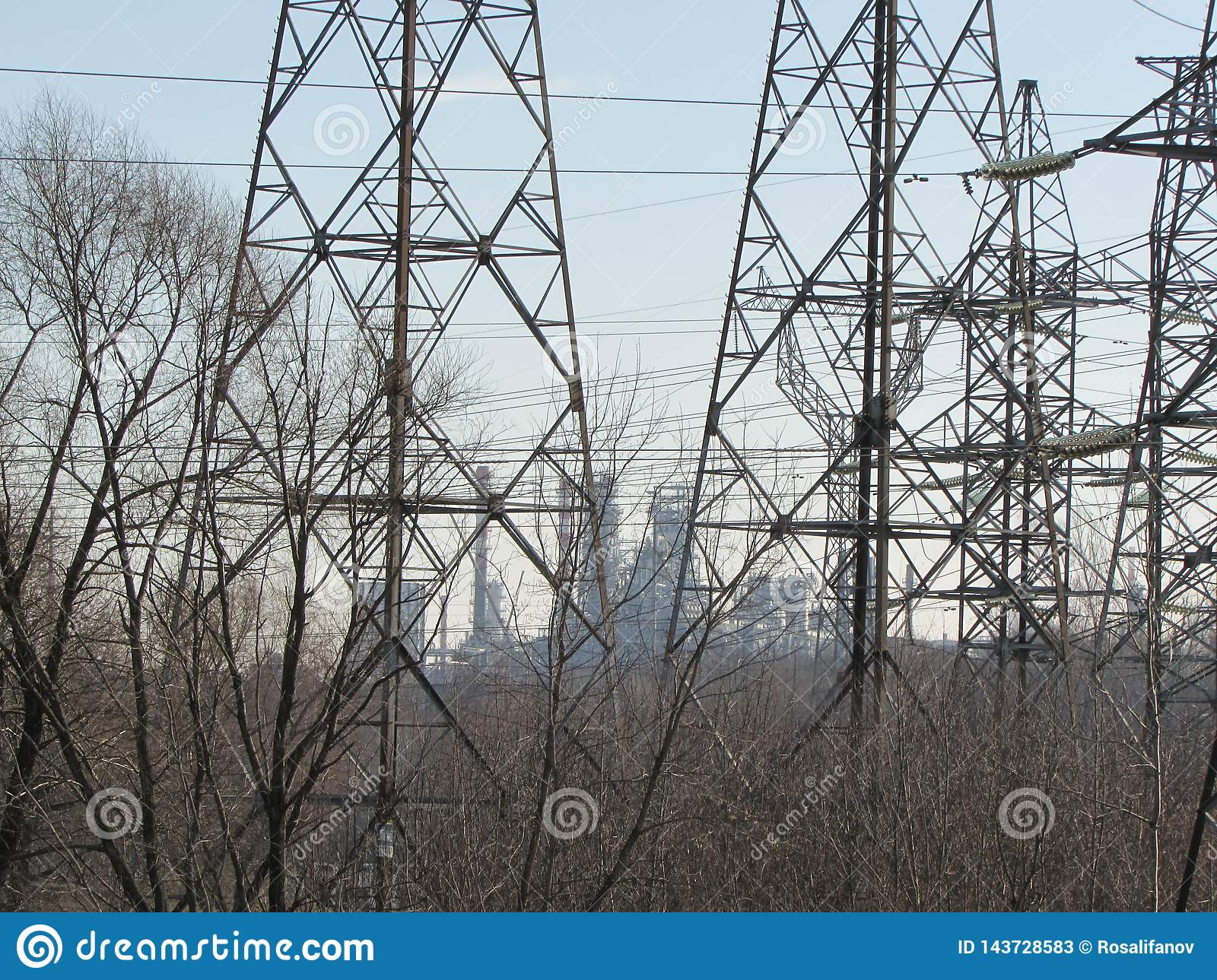 Power line in Moscow.