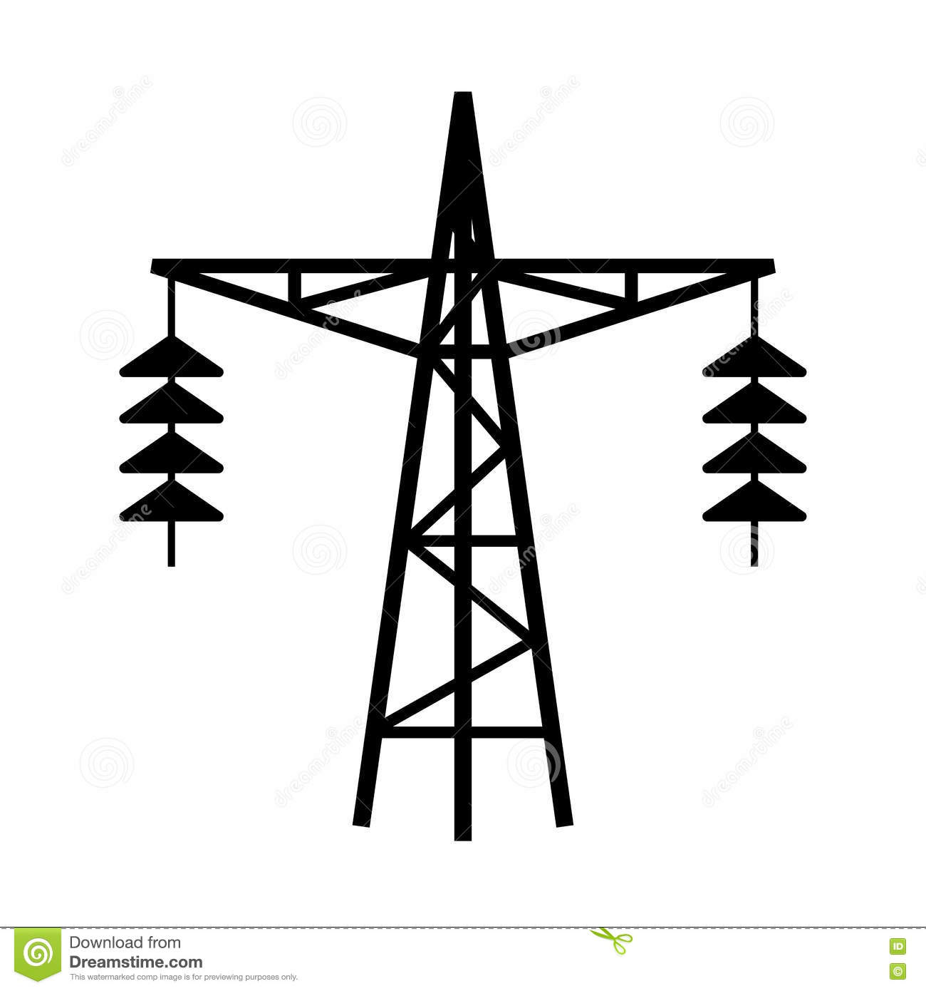Power Line Tower Vector Icon Stock Vector - Illustration ...