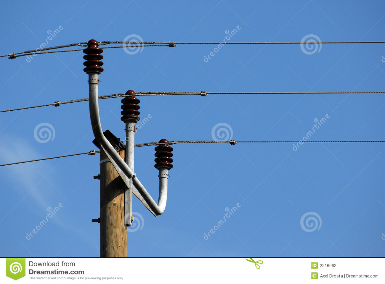 Power Line Transformers stock photo. Image of atop, blue ...