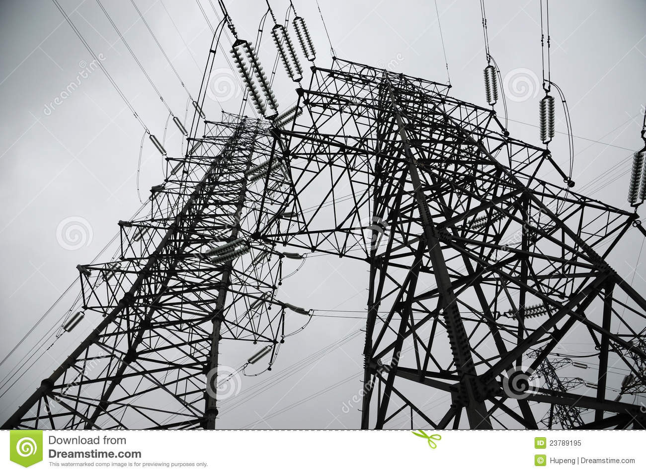 Power Lines In Black And White Stock Image - Image of architecture ...