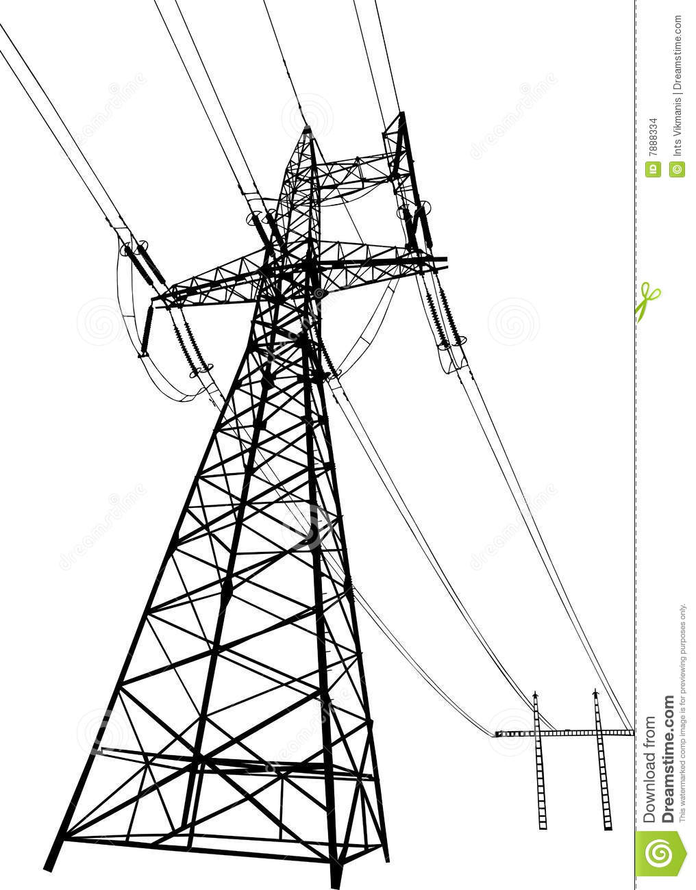 Vector Drawing Lines Review : Power lines and electric pylons stock vector