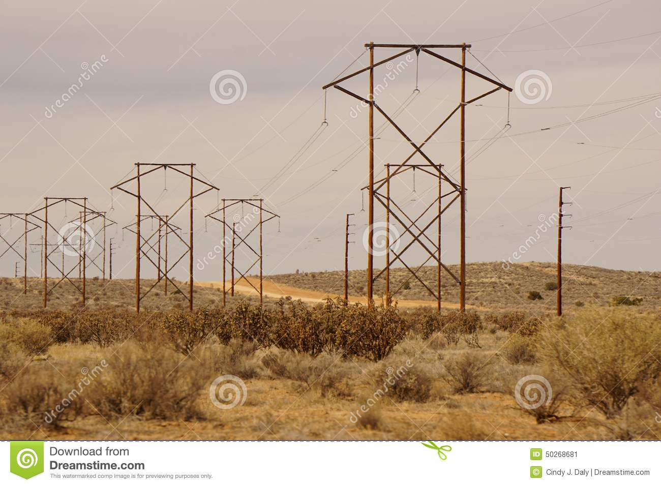 picture of a line of very large power lines.