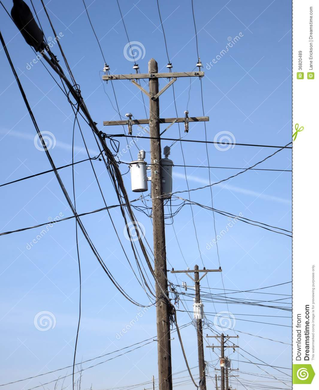 Electric Poles Power Lines : Power lines and poles in town royalty free stock images
